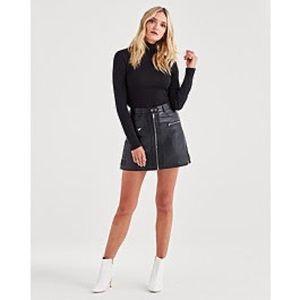 7ForAllMankind Leather Skirt Biker Skirt in Black